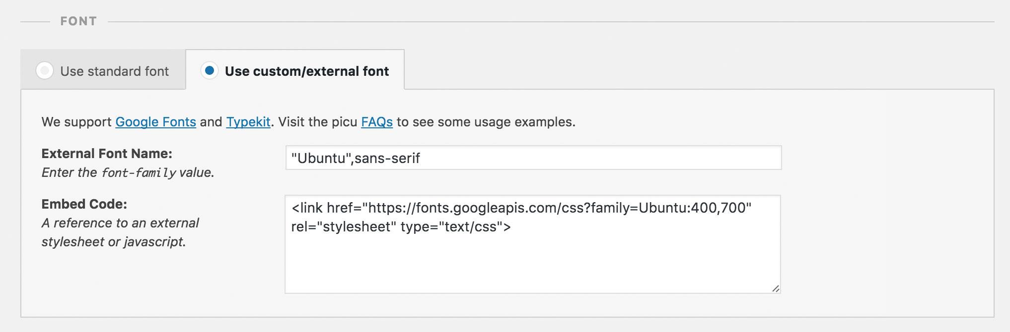 Screenshot of external font UI in picu using Google Fonts
