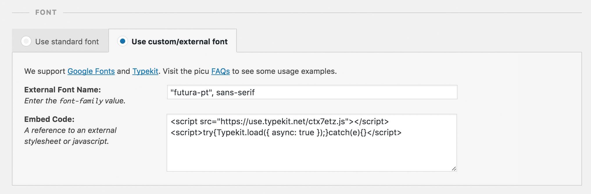 Screenshot of external font UI in picu using Typekit