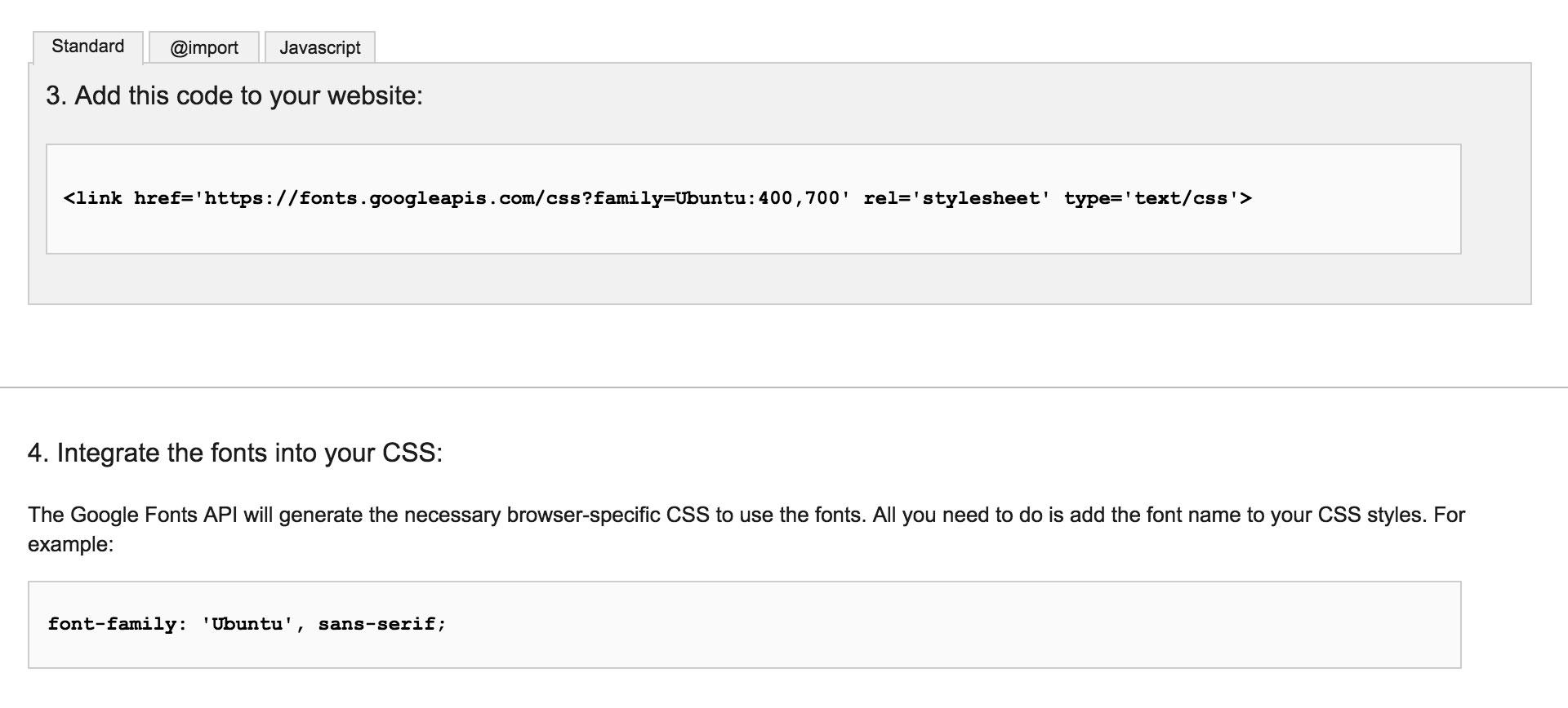 Screenshot of Google Fonts embed code