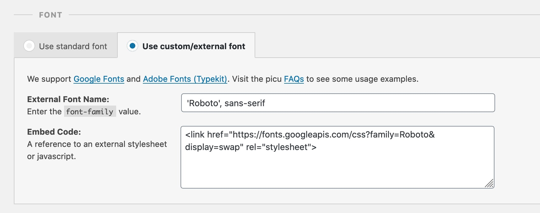 Using an external Google Font with picu Brand & Customize