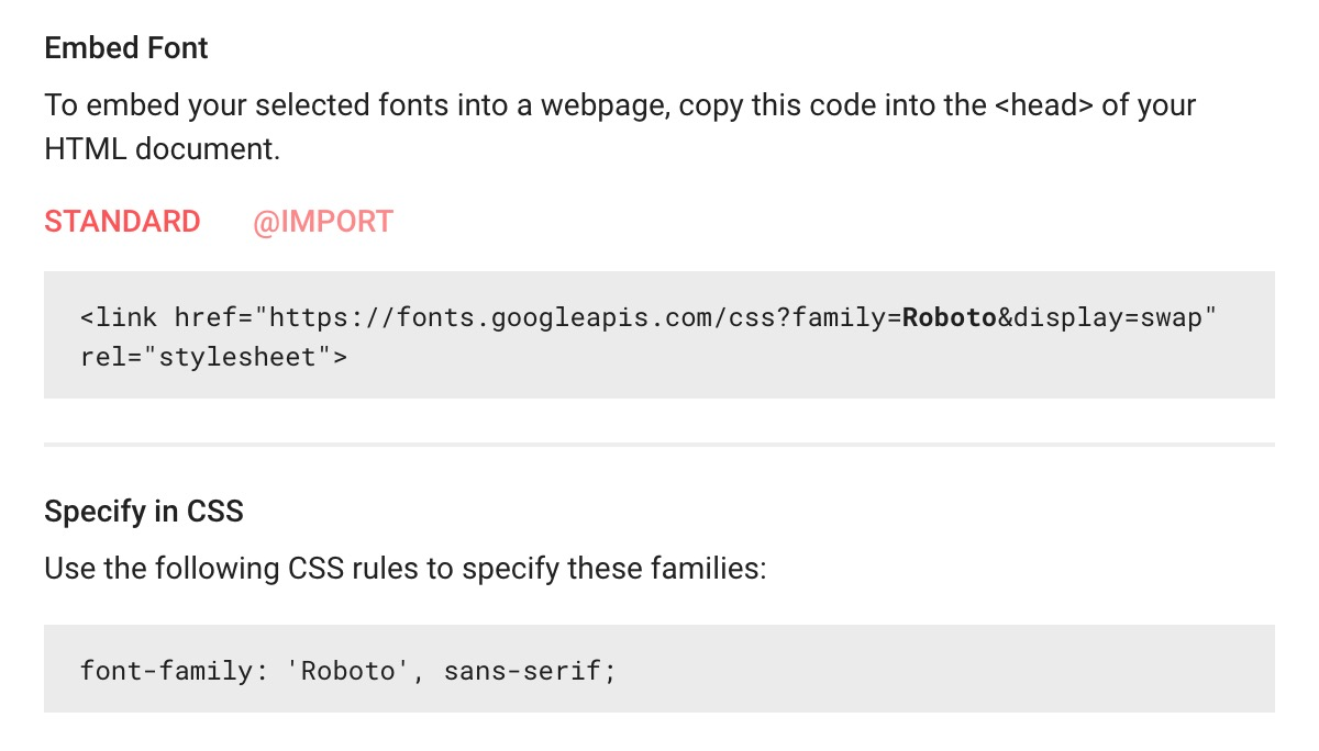 Screenshot of Google Fonts embed code