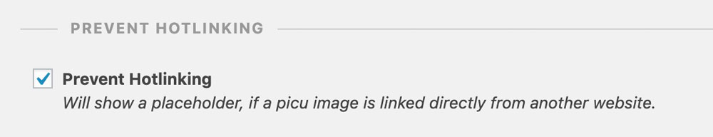 Prevent hot-linking of images in picu collections